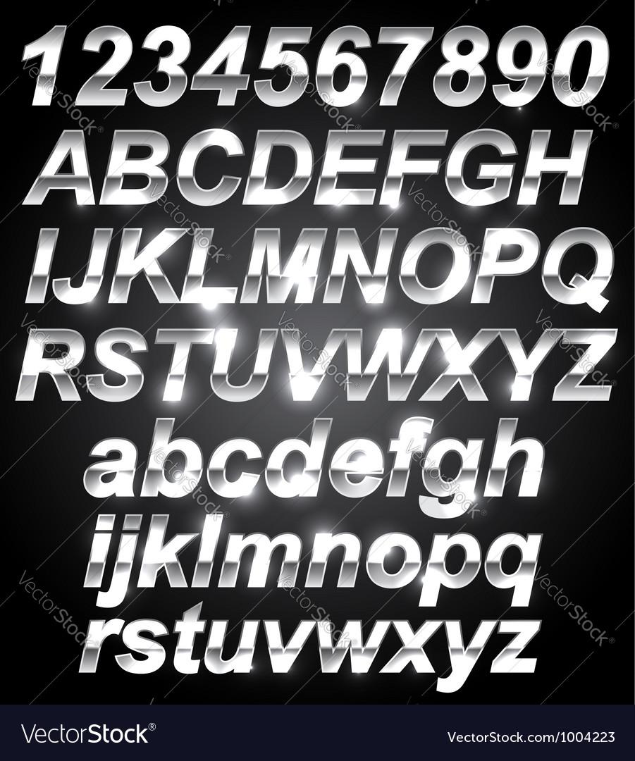 Silver metal font vector