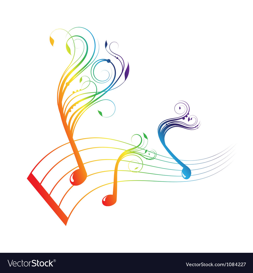 Musical notes staff background vector