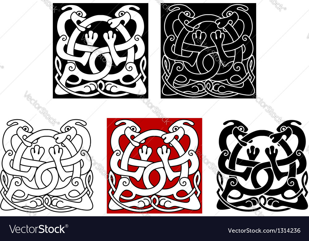 Dogs with celtic ornament vector
