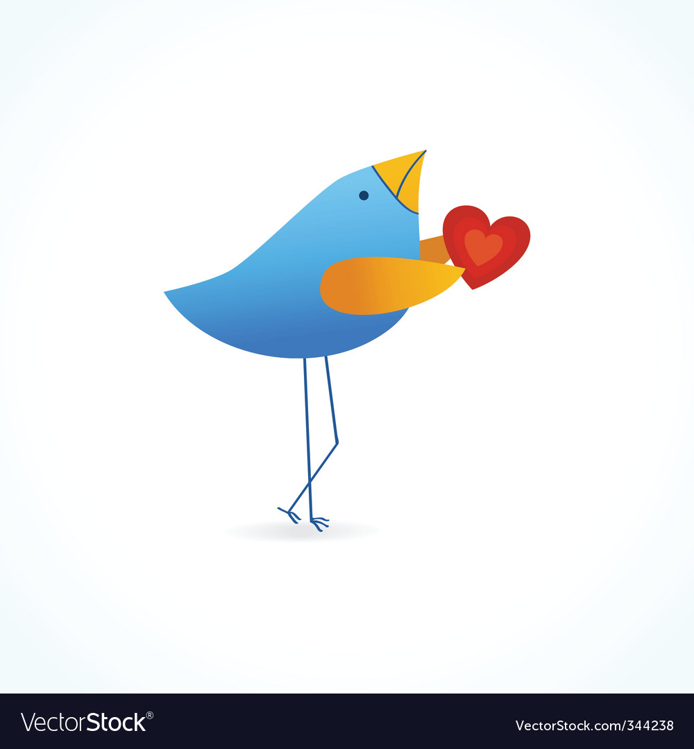 Cute blue bird with heart vector