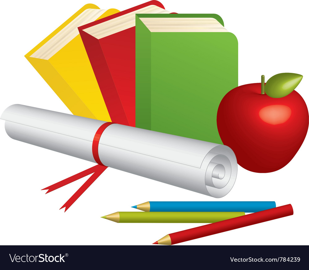 3d school supplies vector