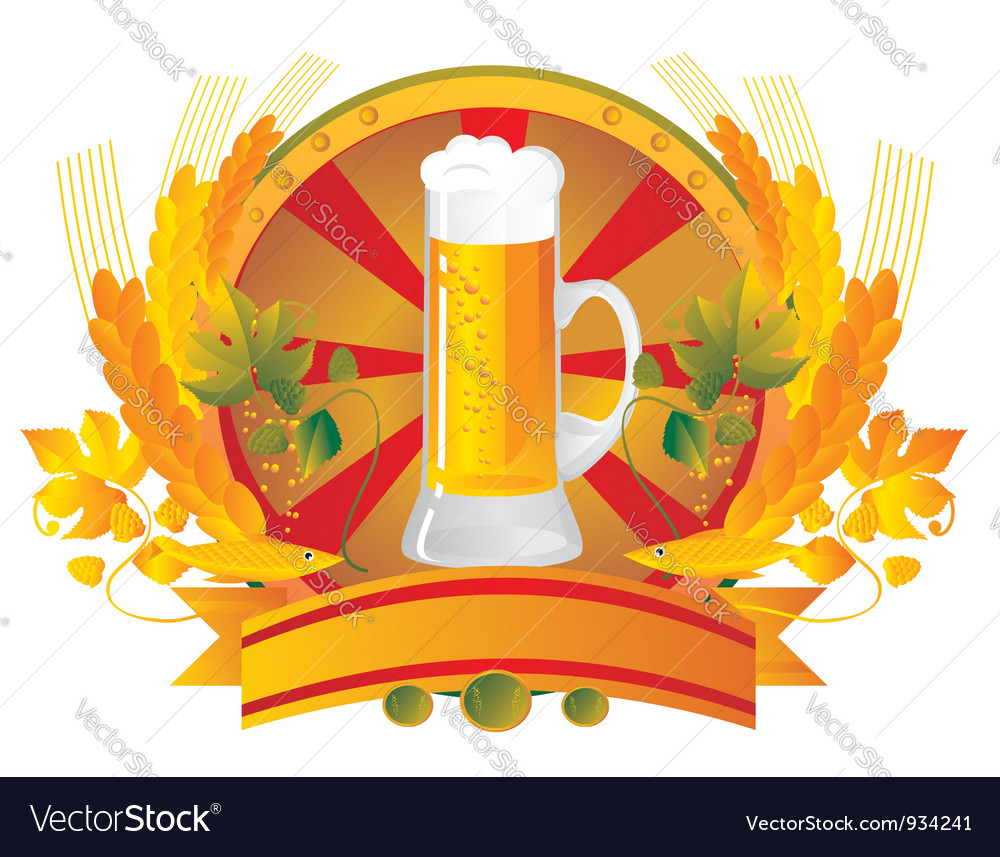 Beer mug in a vignette vector