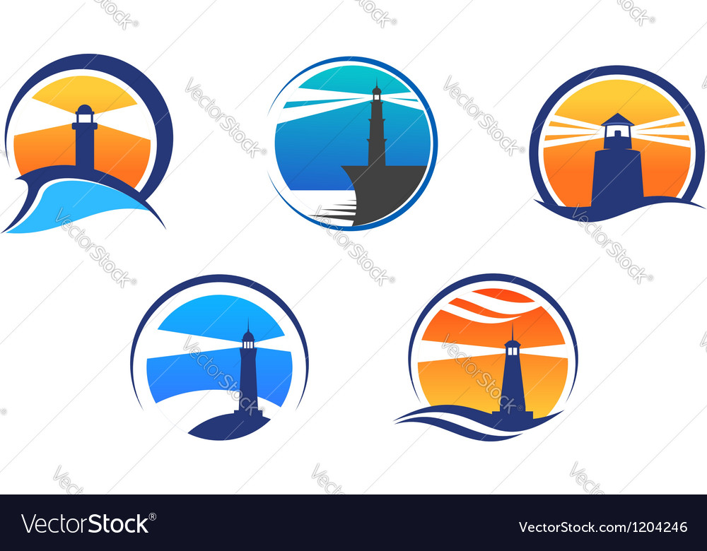 Colorful lighthouse symbols set vector