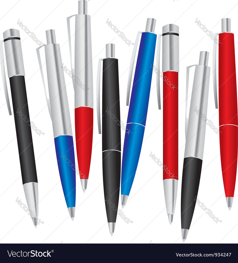 Set of colored pens vector