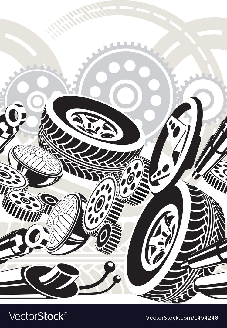 Car parts seamless pattern vector