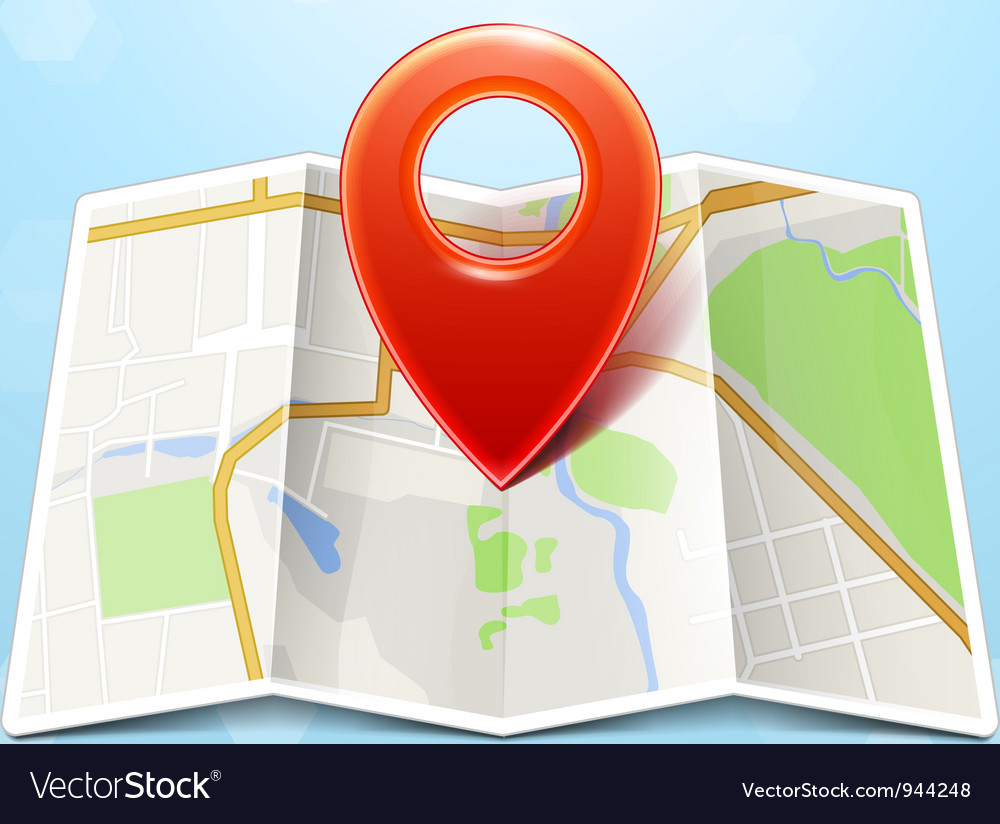 City map with marker icon vector