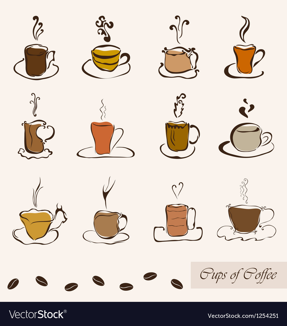 Set of coffee cups vector