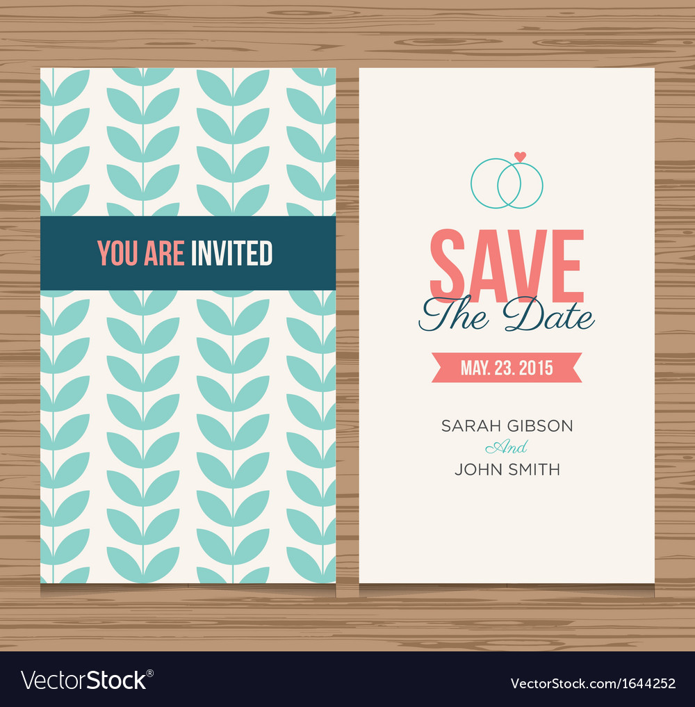 Save the date card pattern green 01 vector