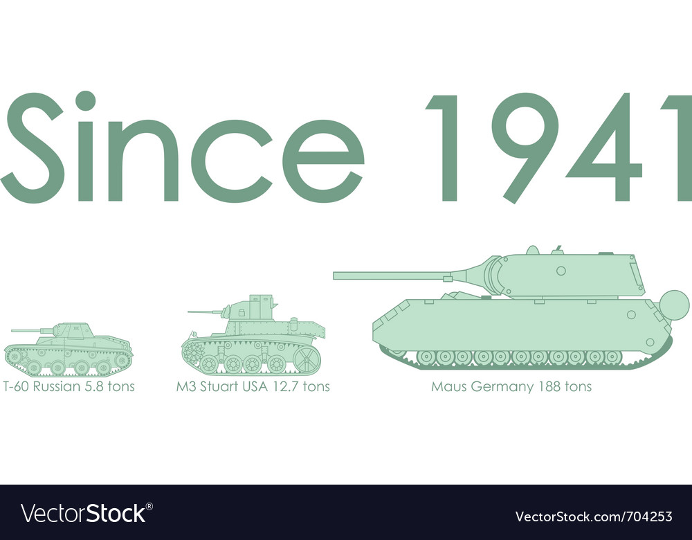 World war two tanks vector