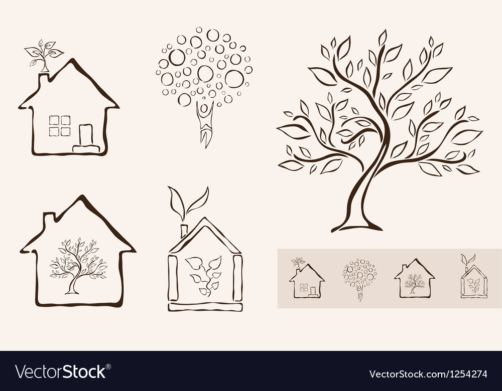 Set of 5 ecology icons vector