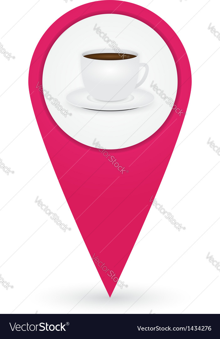Gps marker with cafe icon vector