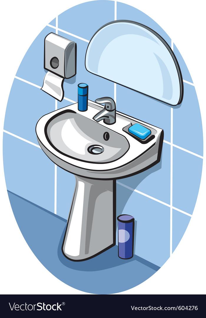 Sink And Faucet In Bathroom Vector By Olegtoka Image 604276