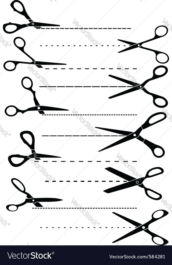 Scissors cutting symbols vector