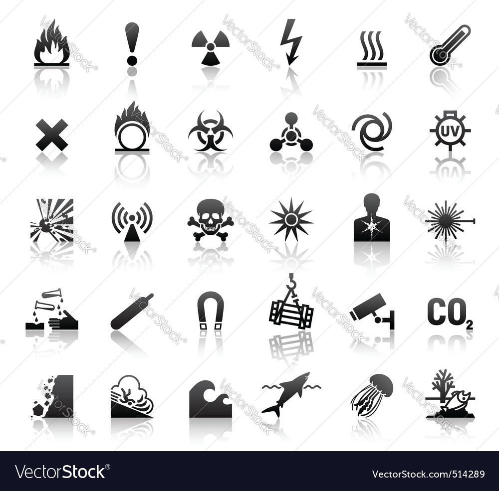 Black symbols danger icons vector