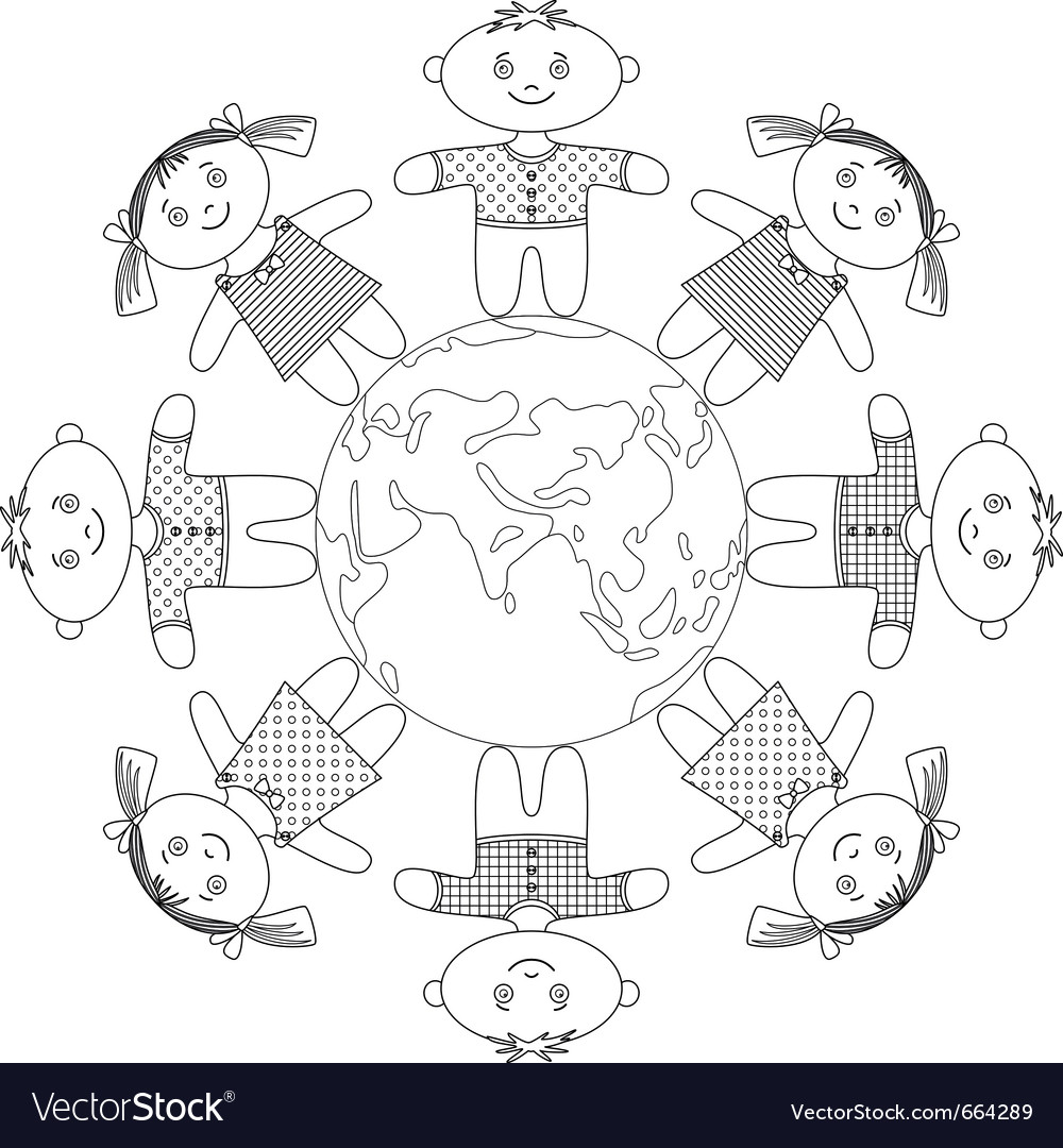 Children standing around earth contour vector