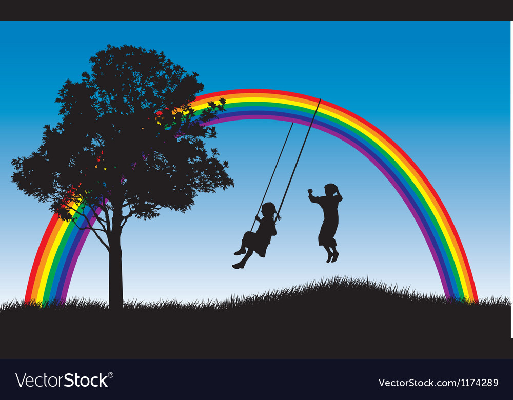 Rainbow swings vector