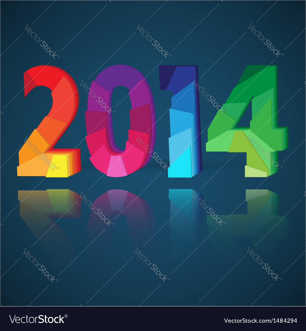 New year card with origami paper numeral vector