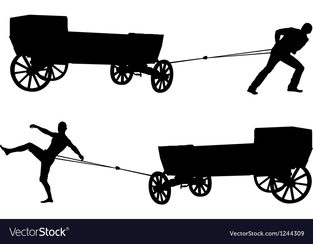 Ancient cart and man vector