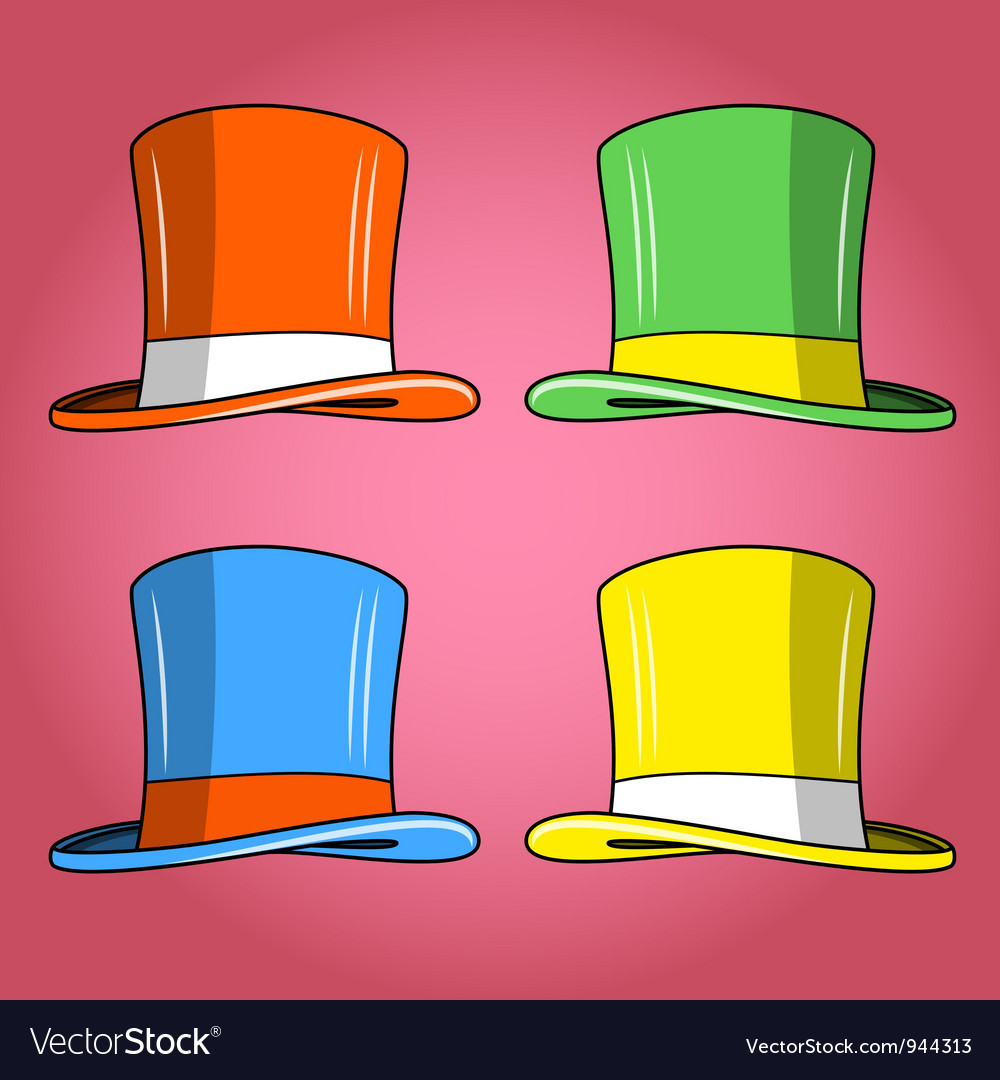 Four colored hats vector