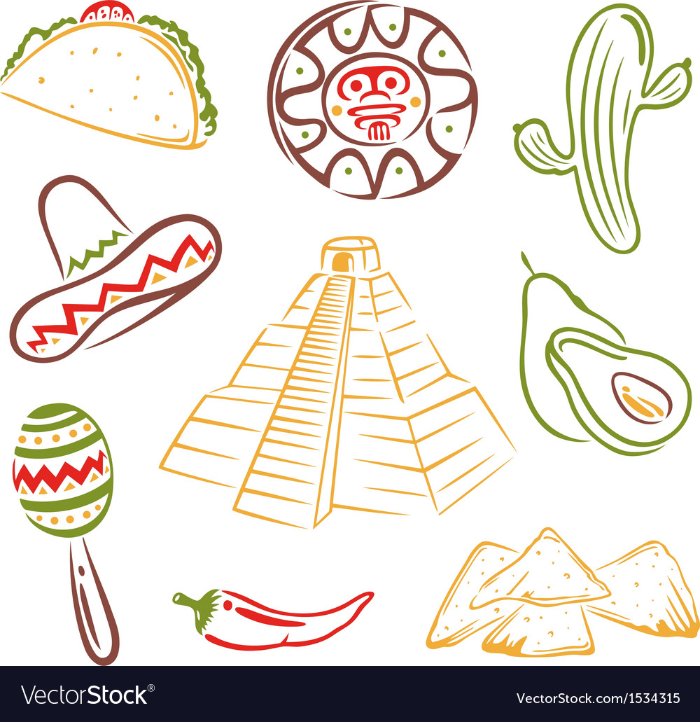 Mexico mexican food vector by christine krahl image 1534315