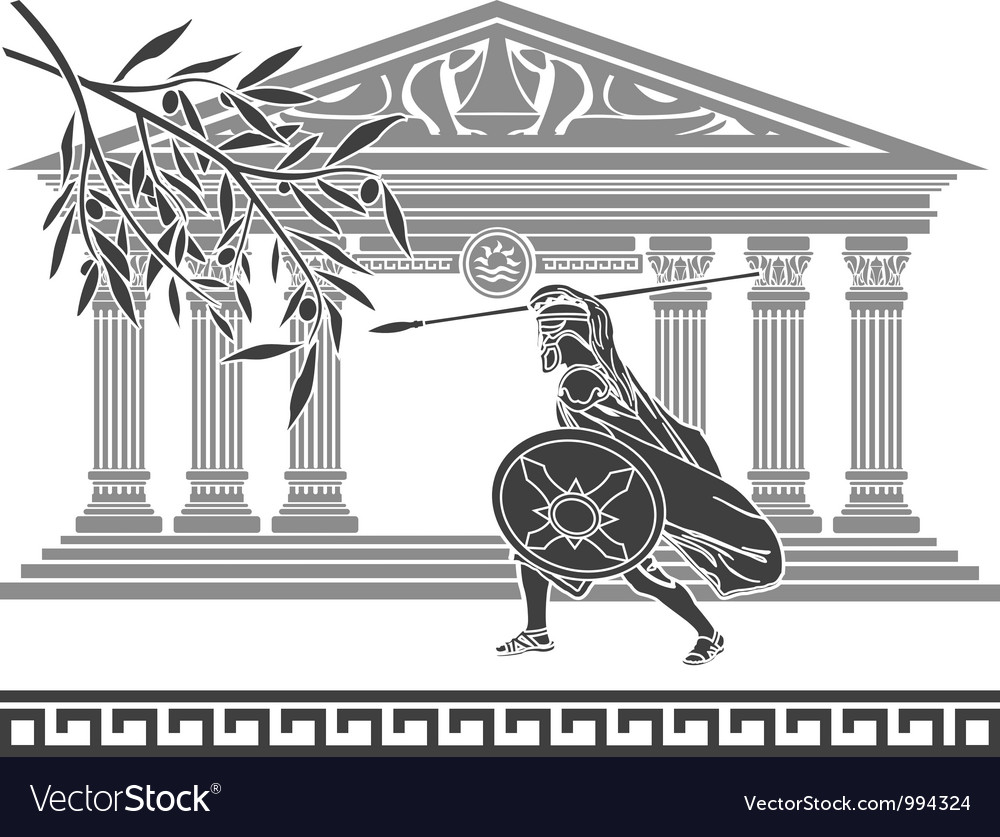 Ancient warrior and olive branch vector
