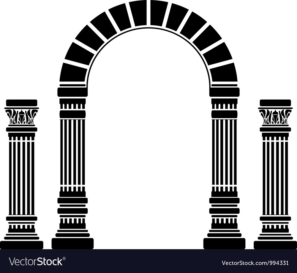 Fantasy arch and columns stencil first variant vector