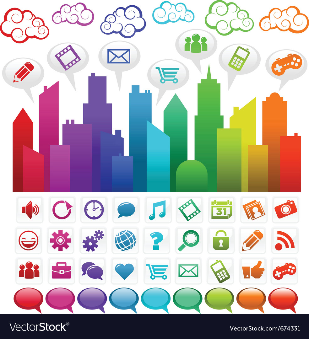 Rainbow social media city vector