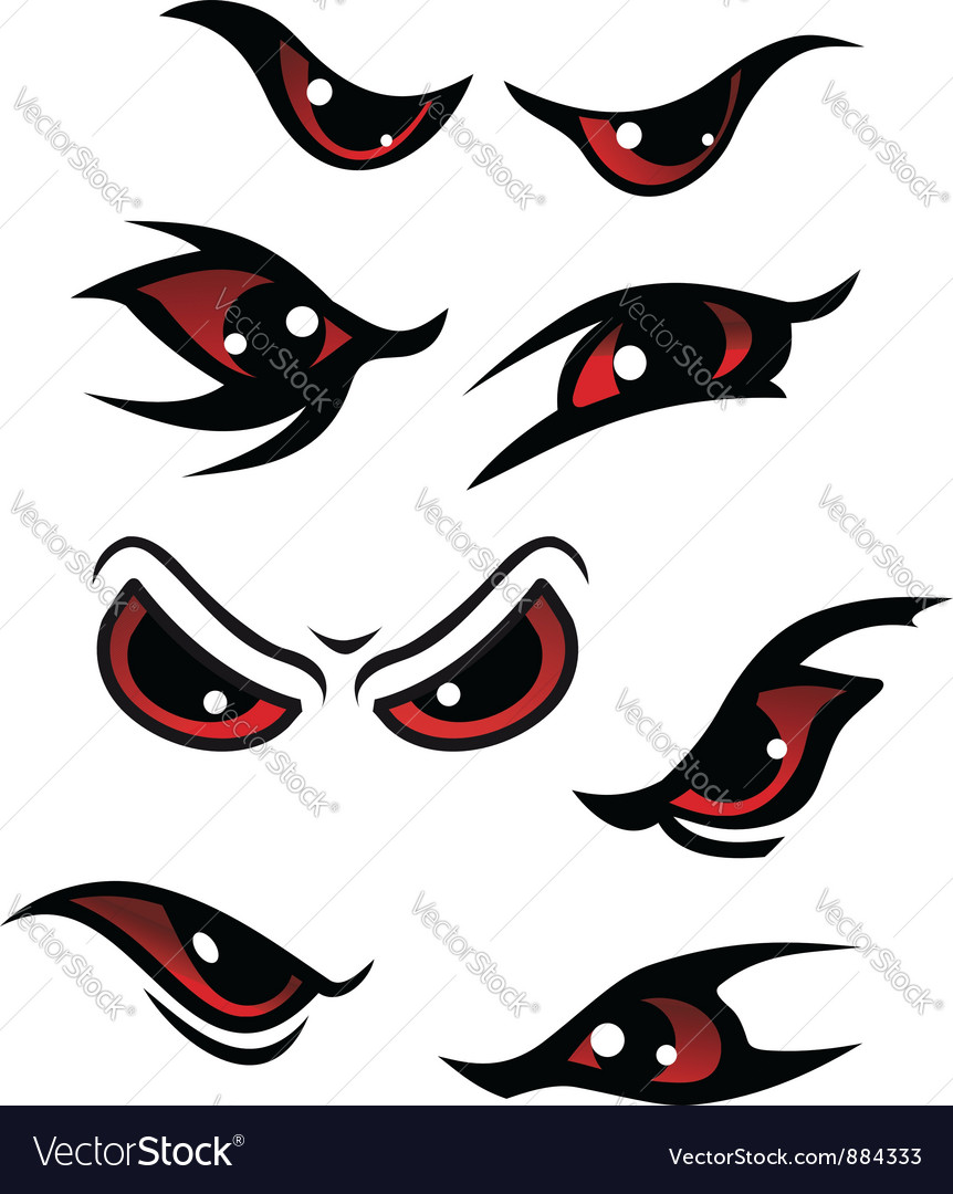 Danger red eyes set vector