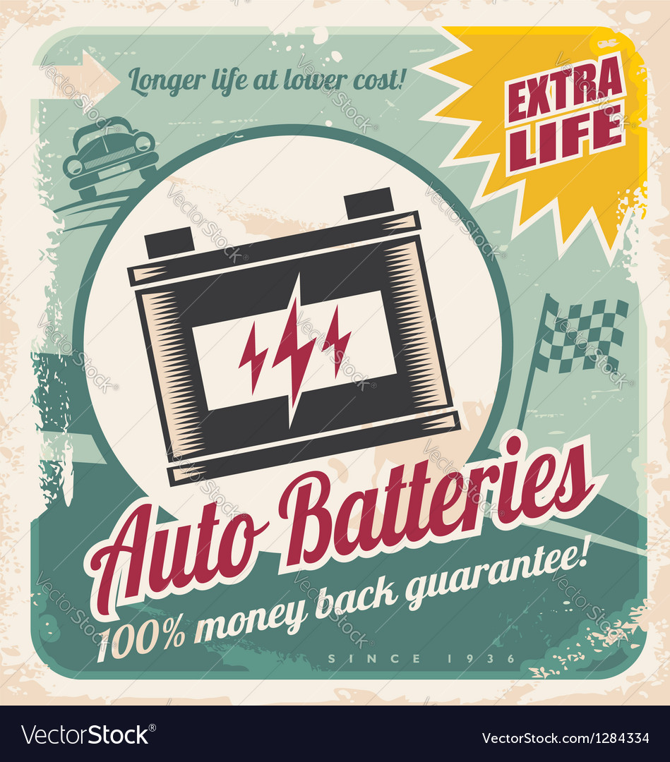 Auto batteries vintage poster design vector