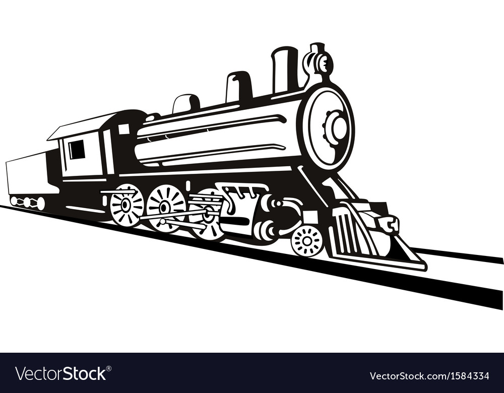 Vintage train retro side view vector