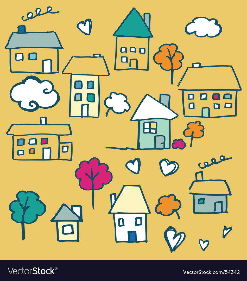 Doodle houses vector