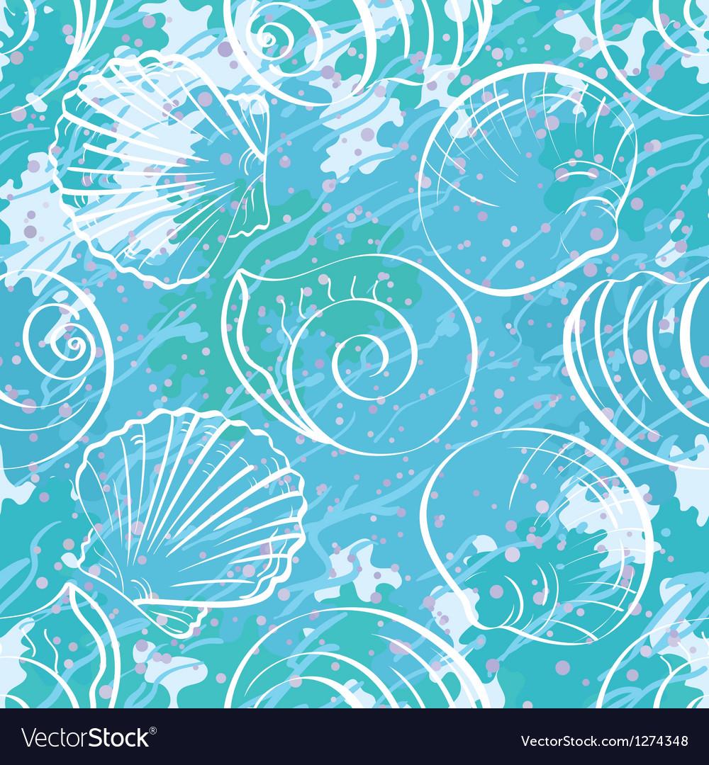 Seamless background outline seashells vector