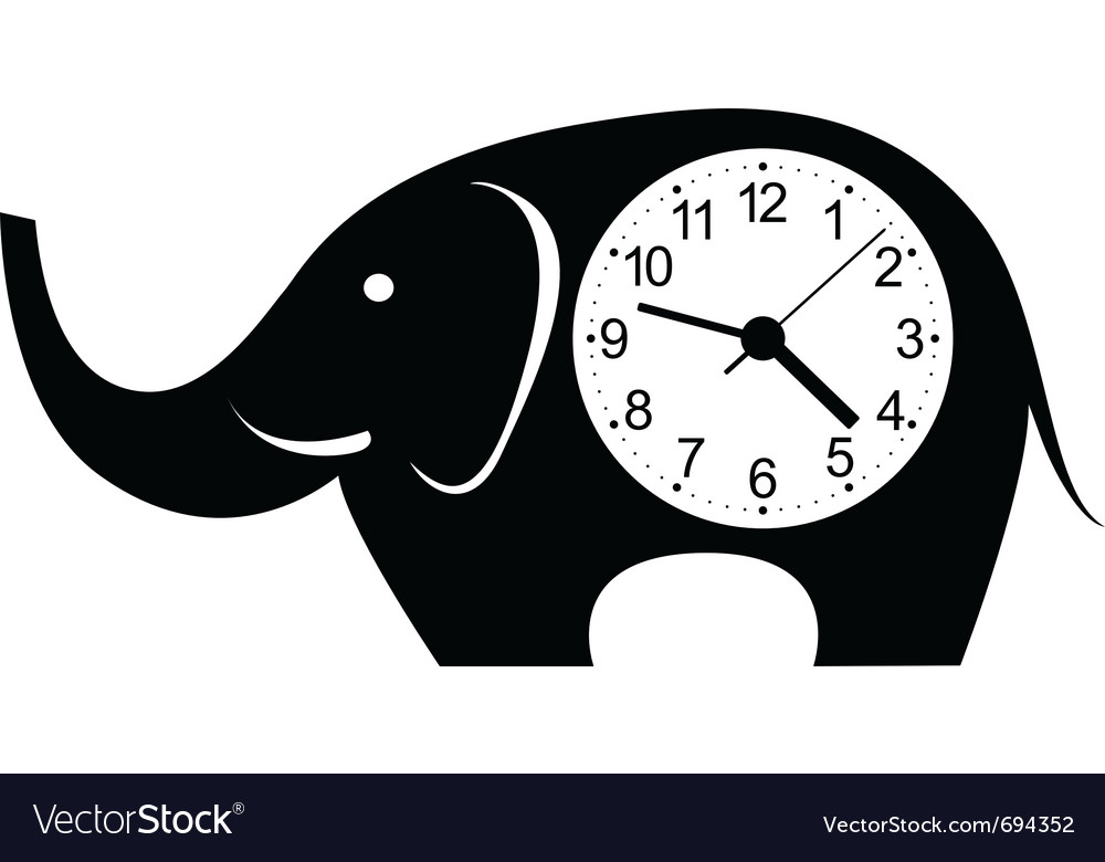 Clock elephant sticker vector