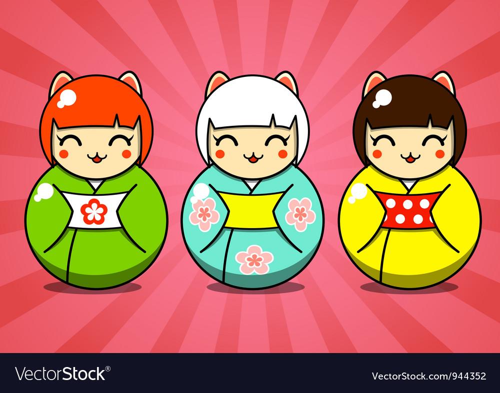 Three matryoshka dolls vector
