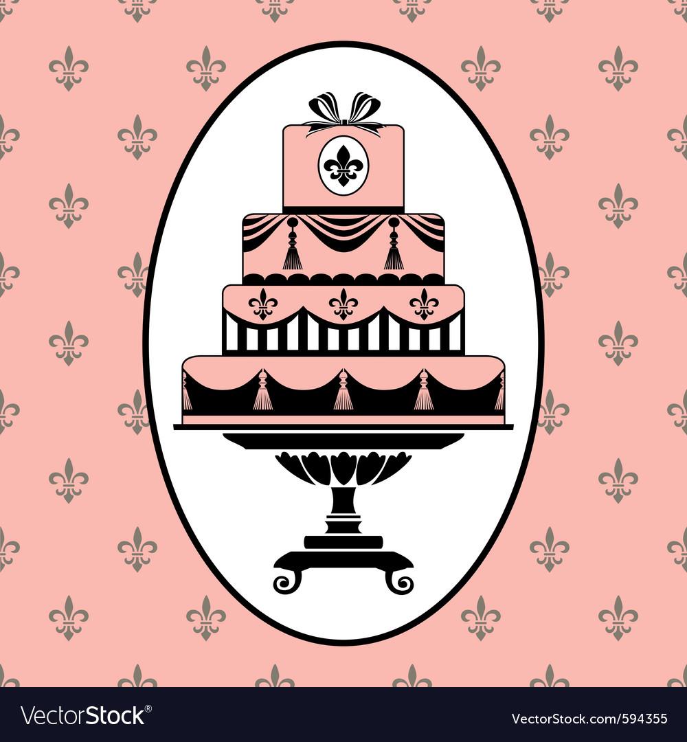 Cake invitation vector