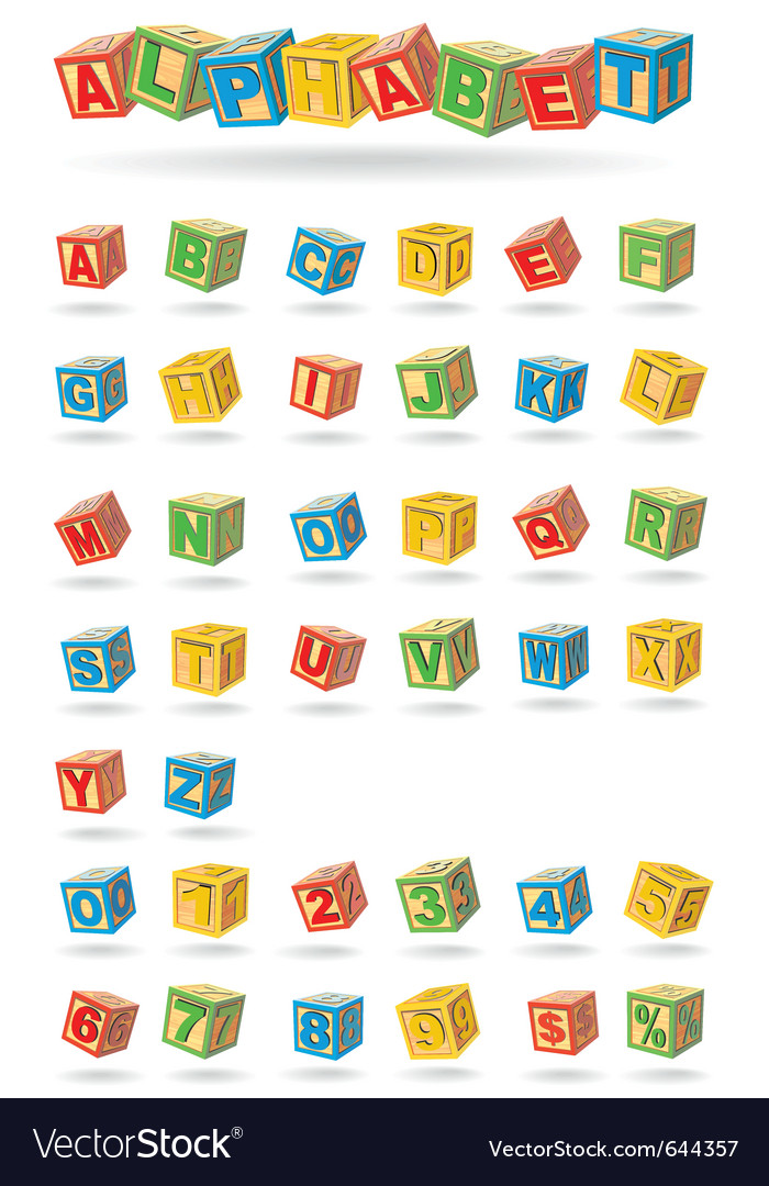 Alphabet on a baby cubes vector