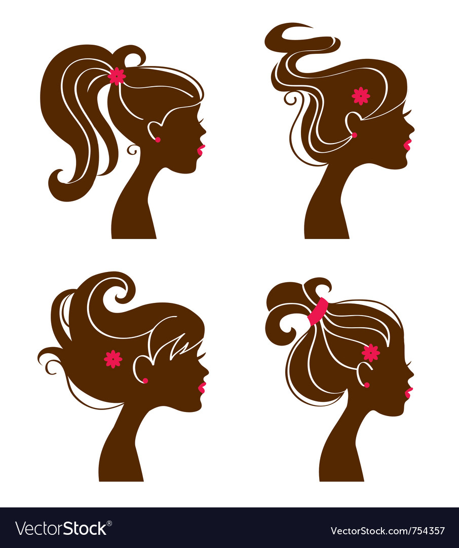 Beautiful women silhouettes vector