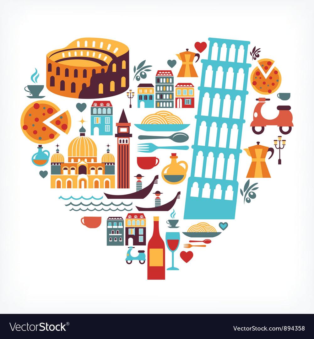Italy love vector