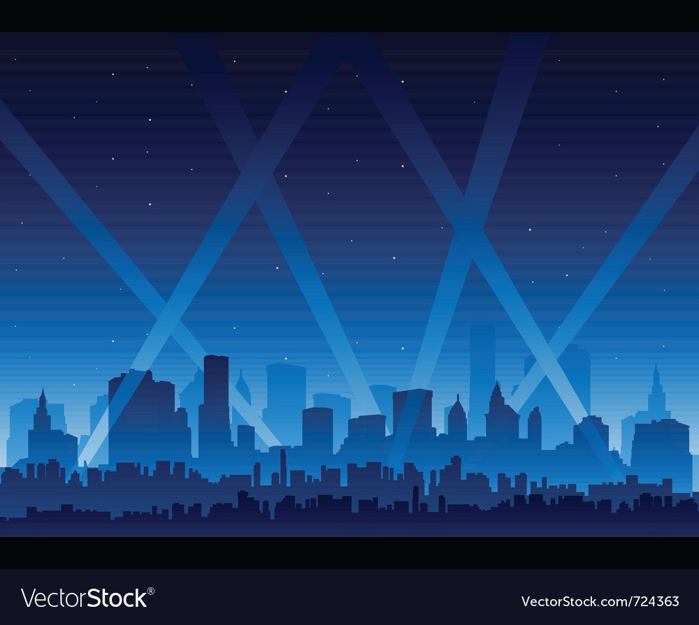 Downtown party city at night background vector
