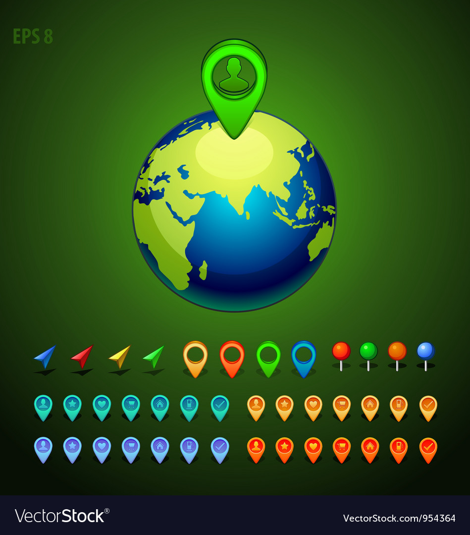 Green earth with a pins set vector