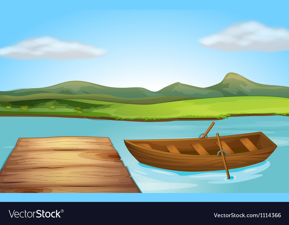 Boat and river vector