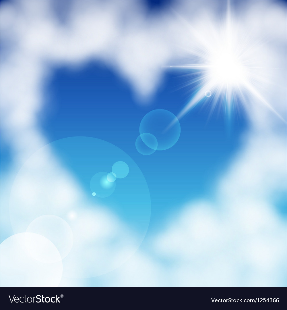 Cloud heart sun vector