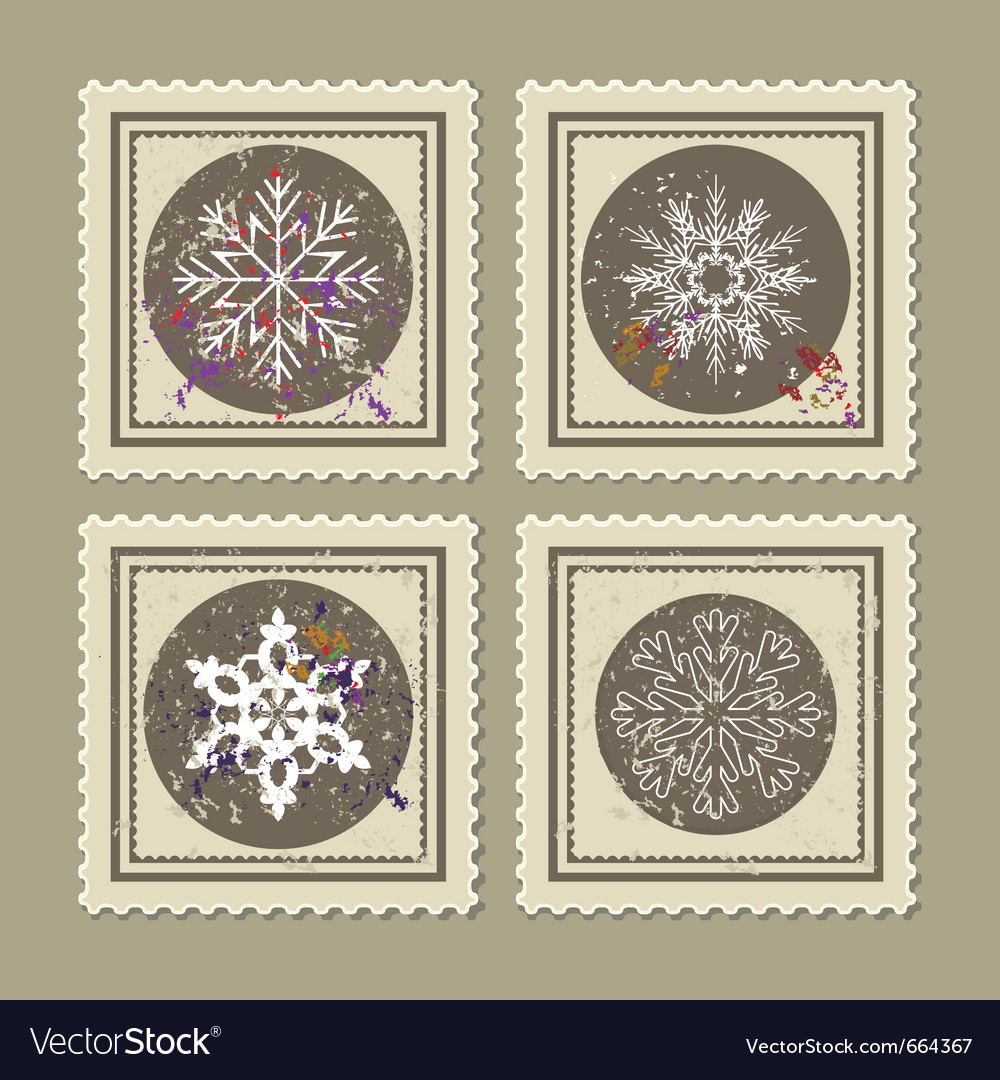 Set of retro christmas postage stamps vector