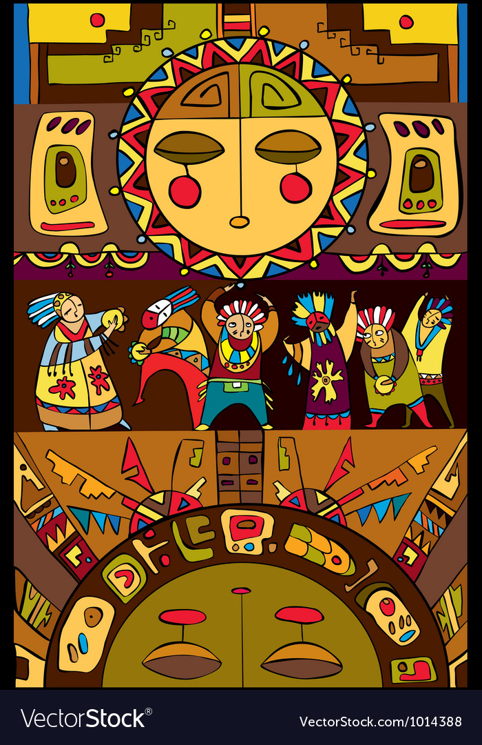 Ethnic people sun background vector