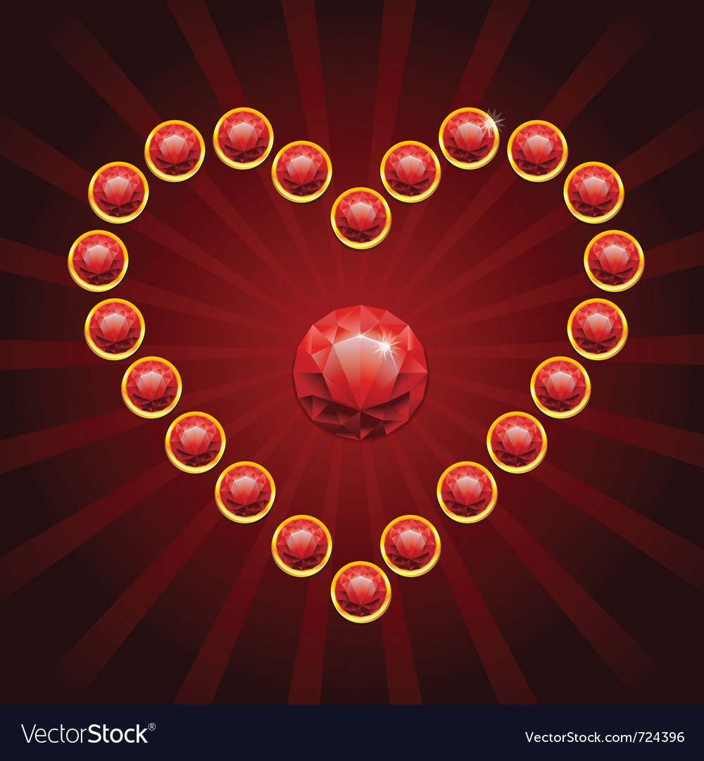 Heart shape made from red diamonds - vector
