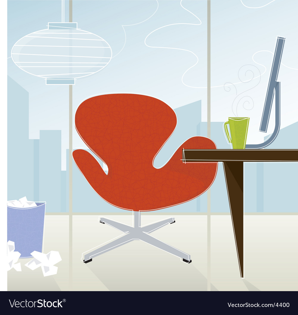 Retro-modern office vector