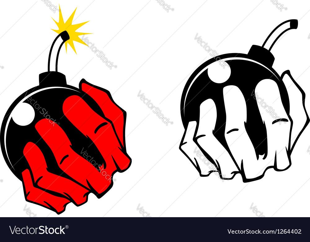 Bomb in people hand vector