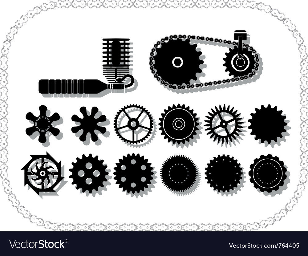 Wheels and mechanisms silouhettes inside a bycicle vector