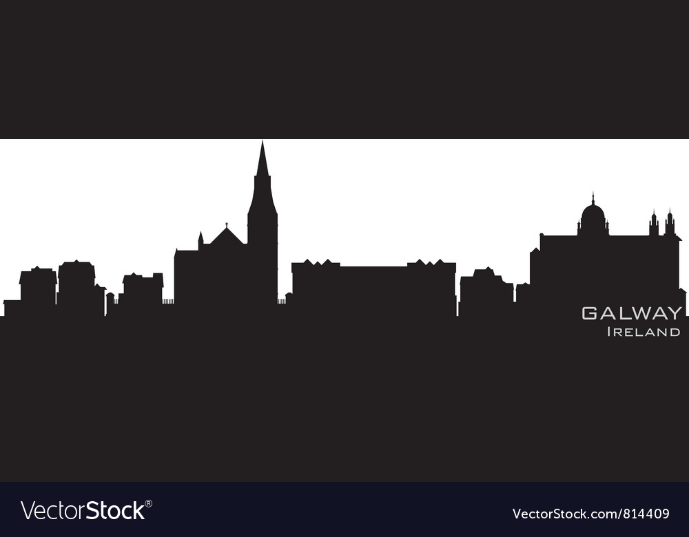 Galway ireland skyline detailed silhouette vector