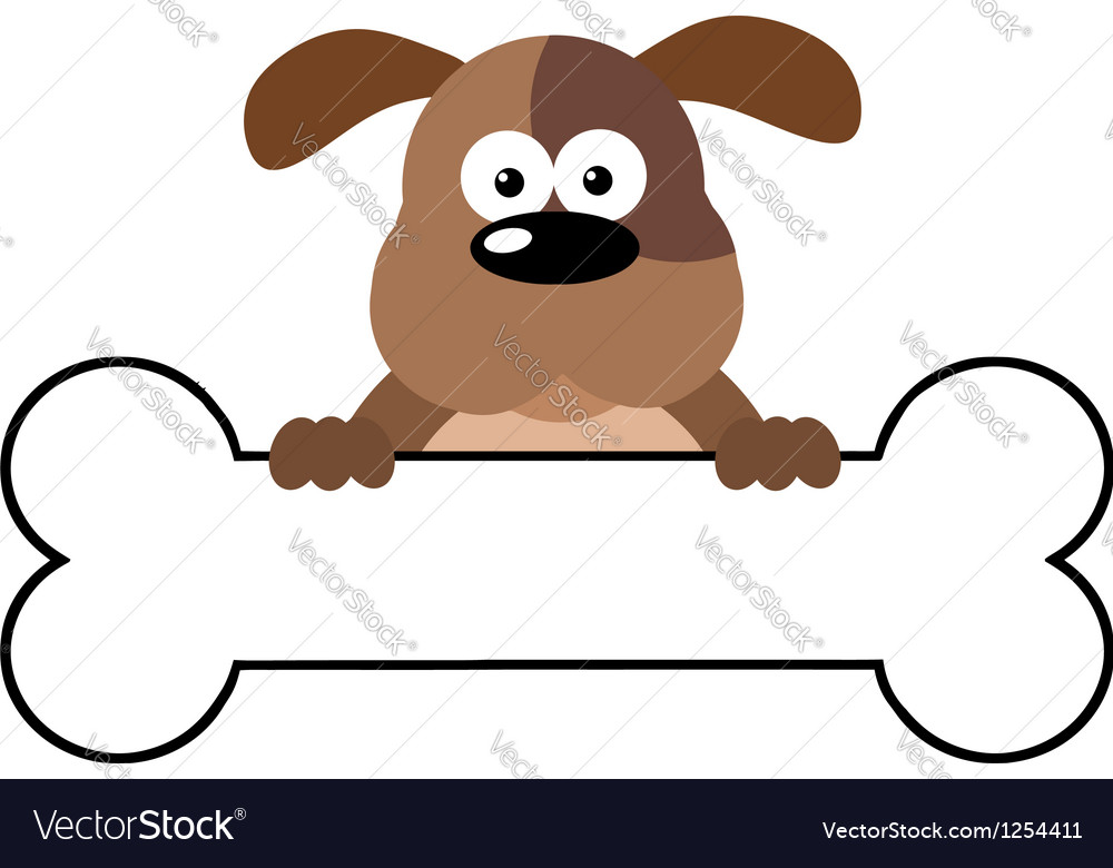 Cartoon dog over a bone banner vector